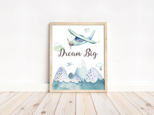 Dream Big Printable Wall Art, Airplanes Nursery Print - Up In The Sky