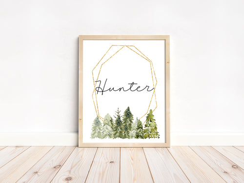 Personalized Pine Trees Wall Art, Woodland Nursery Print Unframed - Wild Green