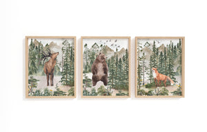 Forest Printable Wall Art, Woodland Nursery Prints Set of 3 - Forest Mist