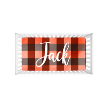 Load image into Gallery viewer, Jack Red Plaid Personalized Minky Crib Sheet, Lumberjack Nursery Bedding