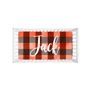Jack Red Plaid Personalized Minky Crib Sheet, Lumberjack Nursery Bedding