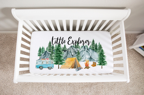 Camping Minky Crib Sheet, Woodland Nursery Bedding - Little Explorer