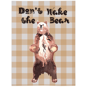 Grizzly Bear Don't Wake the Bear Minky Blanket, Woodland Nursery Bedding