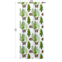 Load image into Gallery viewer, Bear and Pine Trees Curtain Single Panel, Forest Nursery Decor - Into The Woods