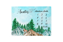 Load image into Gallery viewer, Adventure Awaits Milestone Blanket, Woodland Nursery Bedding - Little Explorer
