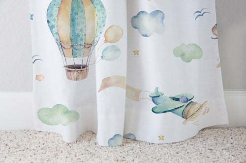 Airplanes Curtain Single Panel, Airplanes Nursery Decor - Up In The Sky