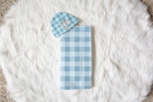 Peanut Baby Blue Gingham Swaddle Blanket and Beanie, Elephant Swaddle Set