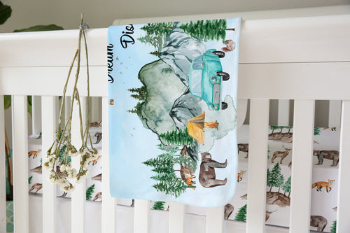 Explore Dream Discover Sherpa Blanket, Camper Nursery Bedding - Little Explorer