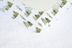 Mountains and Pine Trees Crib Sheet, Forest Nursery Bedding - Wild Green