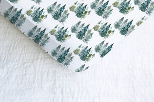 Pine Tress Crib Sheet, Forest Nursery Bedding - Majestic Forest