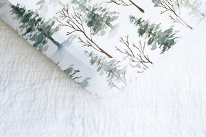 Forest Crib Sheet, Pine Tree Nursery Bedding - Enchanted Forest