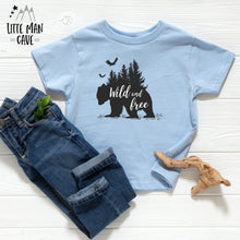 Load image into Gallery viewer, Trees Wild and Free Bear Shirt, Cabin Kids Clothes