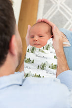 Load image into Gallery viewer, Forest Swaddle and Hat Set, Mountains Hospital Baby Boy Blanket - Wild Green