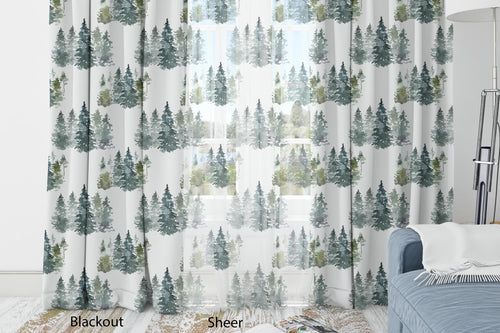 Pine Trees Curtain, Forest Nursery Decor - Majestic Forest