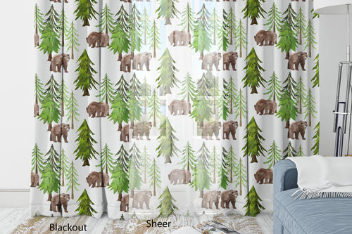 Pine Trees and Bears Curtain Blackout or Sheer, Forest Nursery Decor - Into the Woods