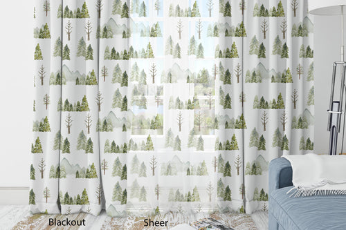 Pine Tree and Mountains Curtain Blackout or Sheer, Forest Nursery Decor - Wild Green