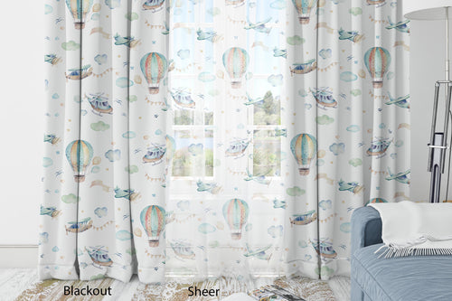 Airplanes Curtain Blackout or Sheer, Airplanes Nursery Decor - Up in the Sky