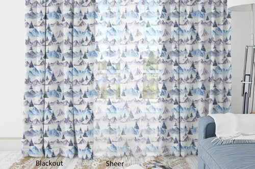 Blue Mountains Curtain Blackout or Sheer, Forest Nursery Decor - Wild Blue