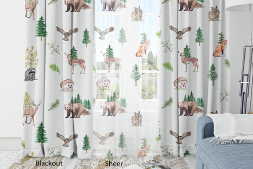 Forest Animals Curtain Blackout or Sheer, Woodland Nursery Decor - Wildlife