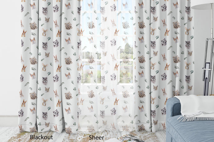 Woodland Nursery Curtains Blackout or Sheer, Forest Animals Curtain - Wild Woodland