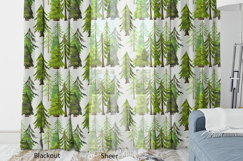 Coniferous Trees Curtain, Forest Nursery Decor - Into The Woods