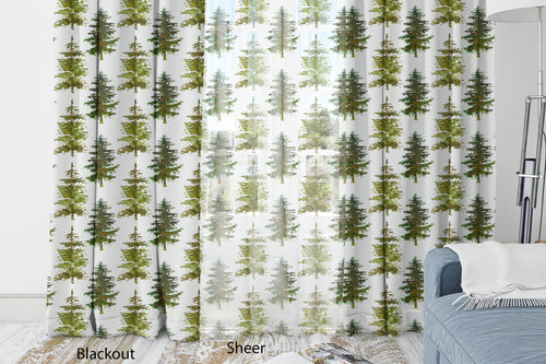 Pine Trees Curtain Blackout or Sheer, Forest Nursery Decor - Cabin Story ref9