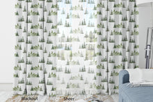 Load image into Gallery viewer, Pine Tree and Mountains Curtain Blackout or Sheer, Forest Nursery Decor - Enchanted Green