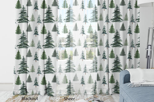 Pine Tree Curtain Blackout or Sheer, Woodland Nursery Decor - The Forest