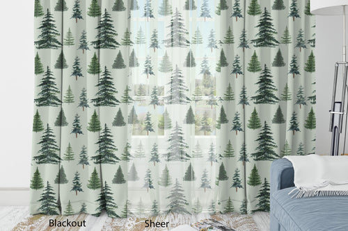 Pine Trees Green Curtain, Forest Nursery Decor - The Forest