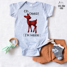 Load image into Gallery viewer, Oh deer I'm here Bodysuit, Plaid Deer newborn outfit!