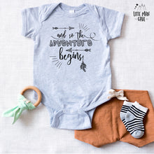 Load image into Gallery viewer, And so the Adventure Begins Baby Clothes, Pregnancy Reveal shirt