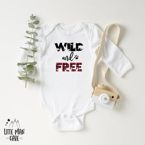 Wild and Free Lumberjack Shirt, Wildlife Kids Clothes