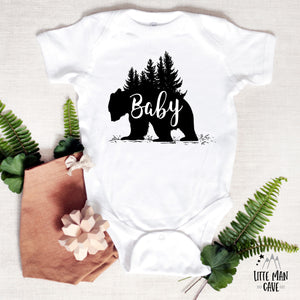 Trees Baby Bear Shirt, Cabin Kids Clothes