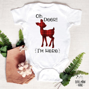 Oh deer I'm here Bodysuit, Plaid Deer newborn outfit!