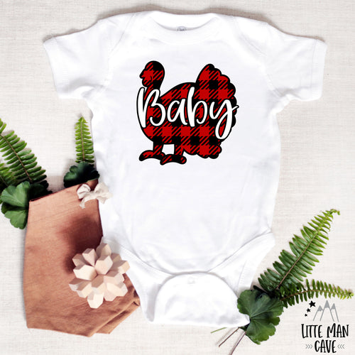 Baby Plaid Turkey Shirt, Thanksgiving Baby Clothes