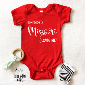 Somebody in Missouri loves me shirt, Home State Kids Clothes