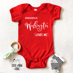 Somebody in Washington loves me shirt, Home State Kids Clothes