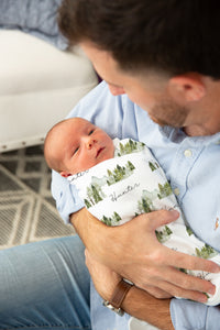 Forest Swaddle and Hat Set, Mountains Hospital Baby Boy Blanket - Wild Green