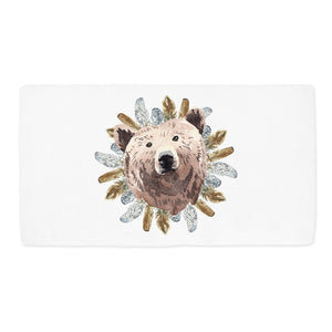Tribal - BohoGrizzly Bear Face Minky Crib Sheet, Woodland Nursery Bedding