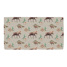 Load image into Gallery viewer, Wild Moose and Trees Minky Crib Sheet, Woodland Nursery Bedding
