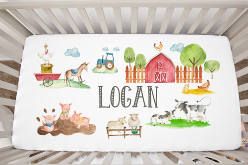 Logan's Farm Personalized Minky Crib Sheet, Farm Nursery Bedding