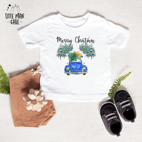 Blue Car Merry Christmas Shirt, Christmas Baby Clothes