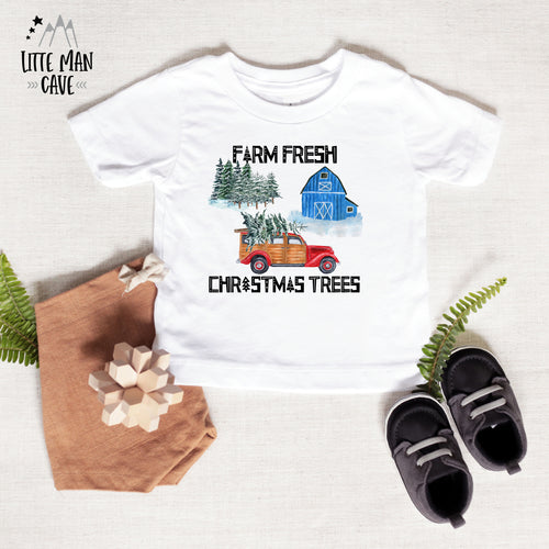 Farm Fresh Christmas Trees Shirt, Christmas Baby Clothes