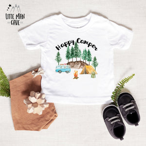 Little Explorer Happy Camper Shirt, Camping Kids Clothes