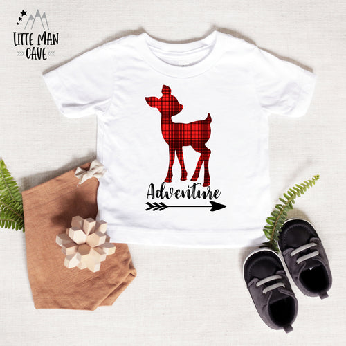 Adventure Deer Shirt, Plaid Kids Clothes