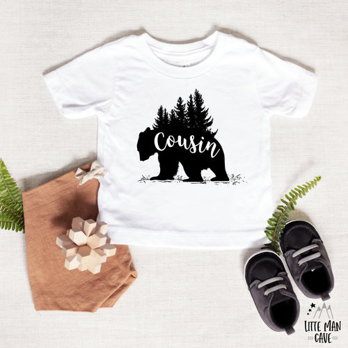 Trees Cousin Bear Shirt, Cabin Kids Clothes