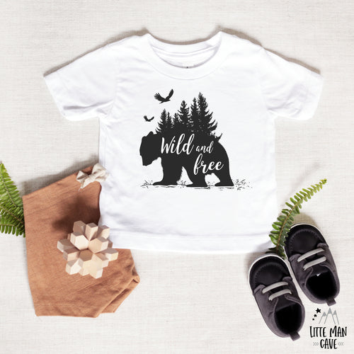 Trees Wild and Free Bear Shirt, Cabin Kids Clothes
