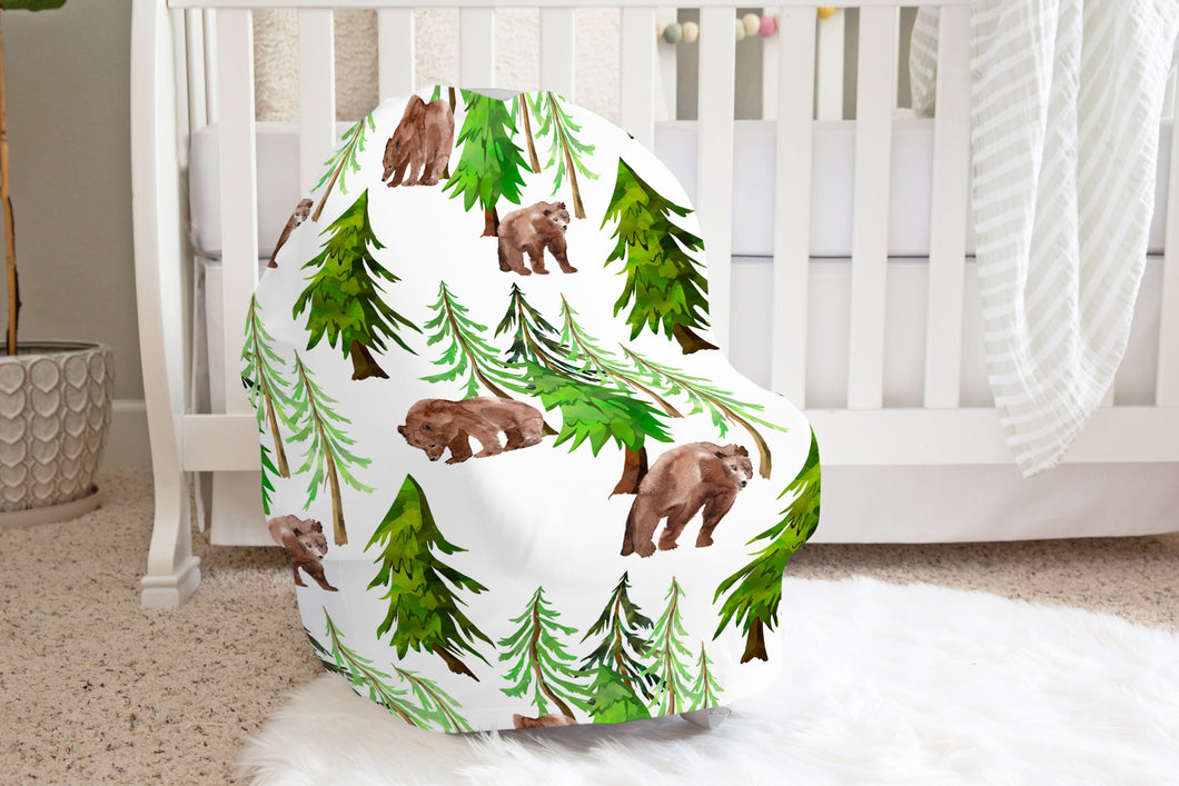 Coniferous Trees and Bear Car Seat Cover, Forest Nursing Cover - Into The Woods