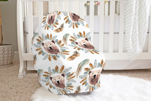 Grizzly Bear Face Car Seat Cover, Woodland Nursing Cover