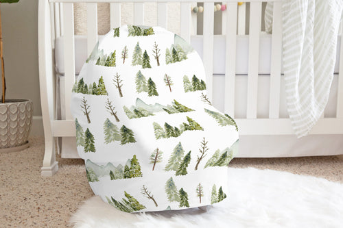 Mountains and Forest Car Seat Cover, Woodland Nursing Cover - Wild Green